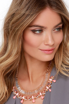 Beads and Love Coral Rhinestone Statement Necklace at Lulus.com!
