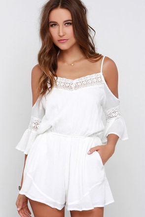 Wilde Heart Gypsy Warrior Ivory Lace Romper at Lulus.com!