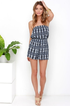Driftin' on By Navy Blue Print Strapless Romper at Lulus.com!