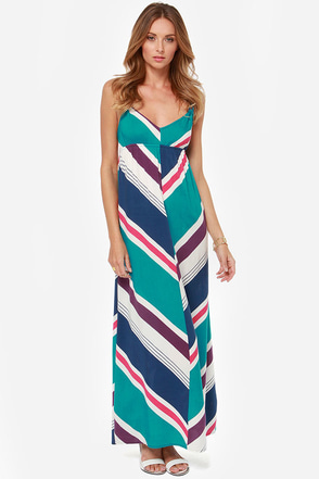 Roxy Fire Bloom Teal Print Maxi Dress