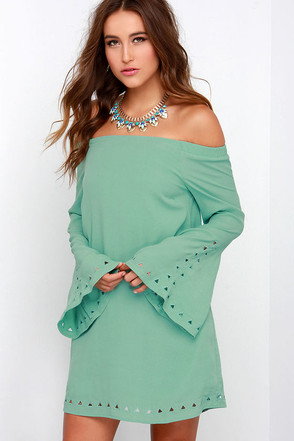 Canyon Echo Sage Green Long Sleeve Off-the-Shoulder Dress at Lulus.com!