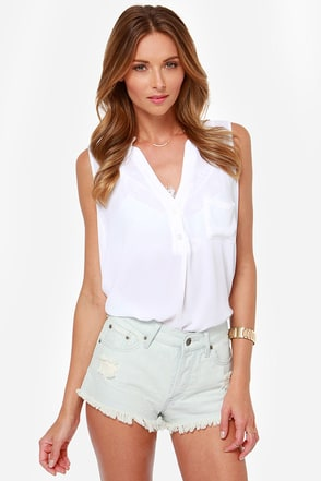 Roxy Smeaton Striped Cutoff Jean Shorts