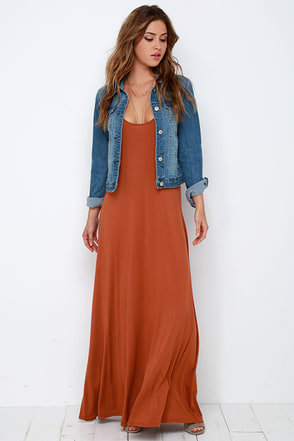 Sunset the Pace Rust Orange Maxi Dress at Lulus.com!