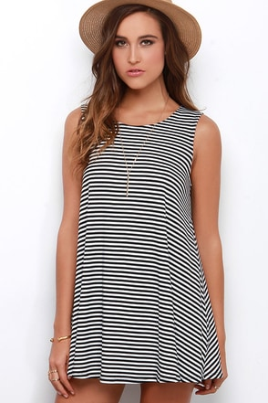 Olivia Ivory and Black Striped Swing Dress at Lulus.com!