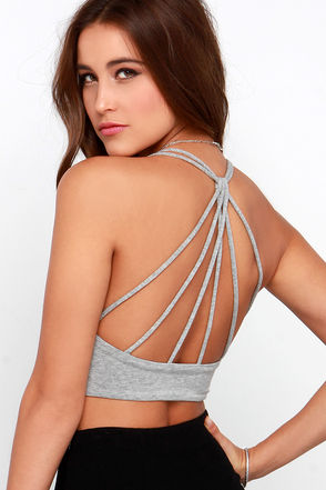 Mission to Mars Heather Grey Strappy Crop Top at Lulus.com!