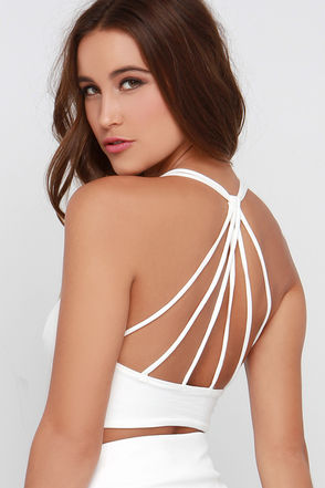 Mission to Mars Ivory Strappy Crop Top at Lulus.com!