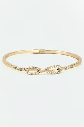 Forever Embedded Gold Rhinestone Bracelet
