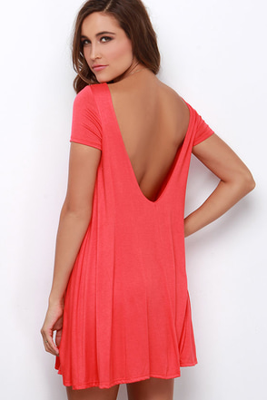 Thank You V Much Coral Red Backless Swing Dress at Lulus.com!
