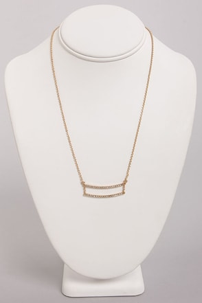 Dandy Bars Gold Rhinestone Necklace