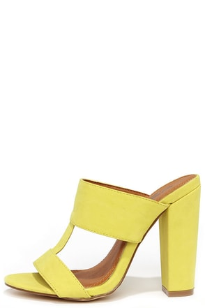 View and Improved Lemon Yellow Peep Toe Mules at Lulus.com!