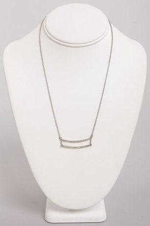 Dandy Bars Silver Rhinestone Necklace