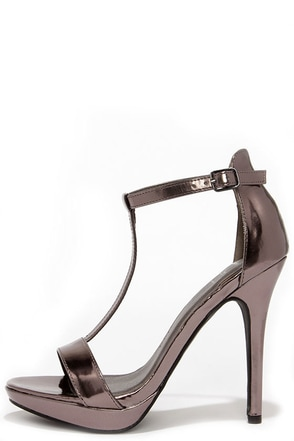 On My Level Pewter T Strap High Heel Sandals at Lulus.com!