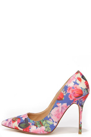 Main Abstraction Blue Floral Print Pumps at Lulus.com!