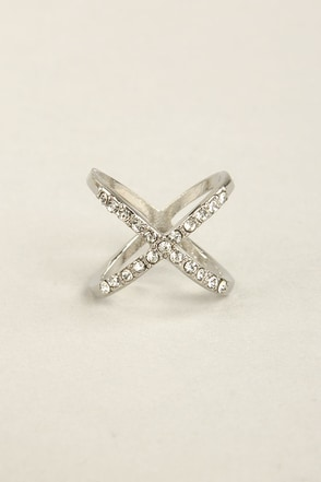 Hot Cross Fun Silver Rhinestone Ring