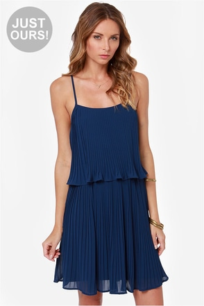 LULUS Exclusive As You Swish Pleated Navy Blue Dress