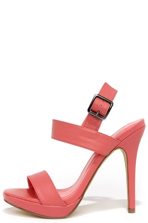 Known Fact Coral High Heel Sandals at Lulus.com!