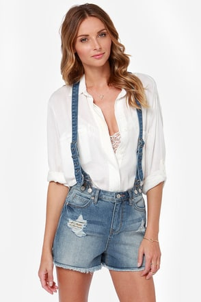 Dittos Clarissa Distressed White Suspender Shorts