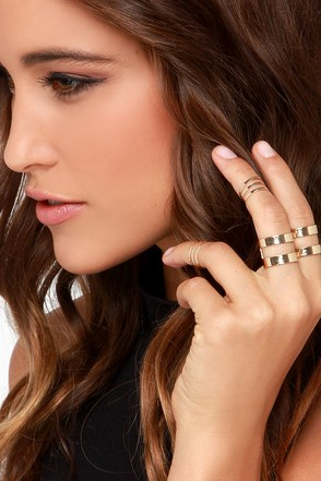 Stack Time Gold Ring Set at Lulus.com!