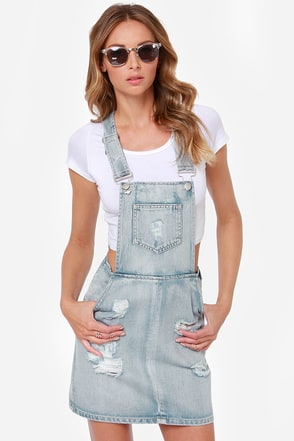 Mink Pink Instinct Distressed Overall Skirt