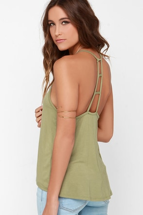 Munificent Gift Olive Green Tank Top at Lulus.com!
