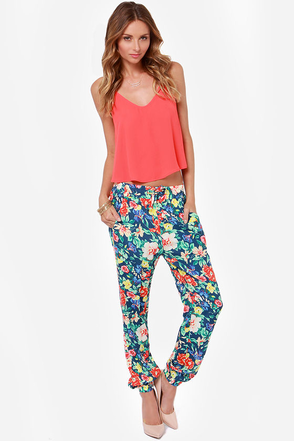 Mink Pink Acid Bloom Blue Floral Print Pants