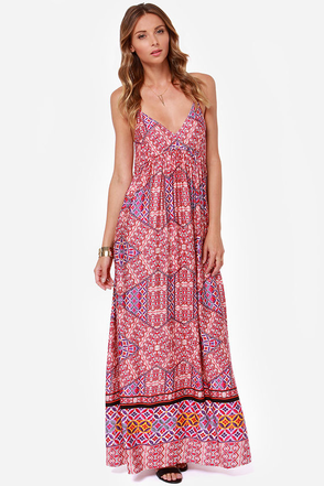Mink Pink Water Tiles Red Print Maxi Dress
