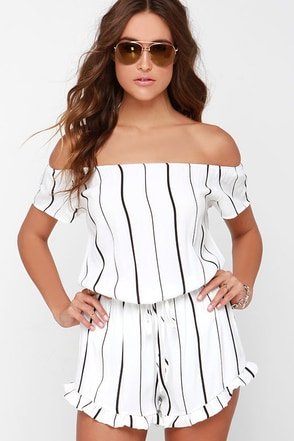 Honest to Goodness Ivory Striped Off-the-Shoulder Romper at Lulus.com!