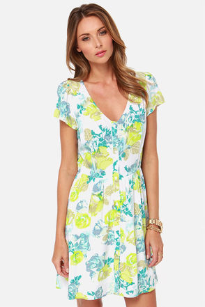 Jack by BB Dakota Cobie Green and Blue Floral Print Dress