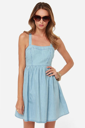 Jack by BB Dakota Lex Light Blue Chambray Dress