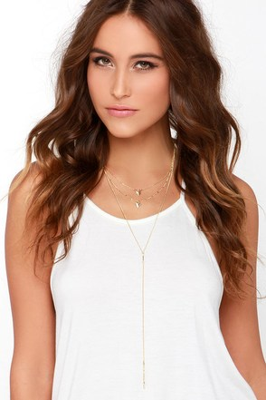All in Arrow Gold Layered Necklace at Lulus.com!