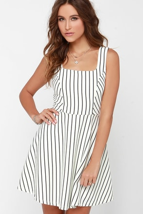 Striped My Fancy Black and Cream Striped Dress at Lulus.com!