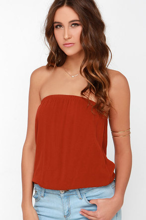 Just Flow With It Rust Red Crop Top at Lulus.com!