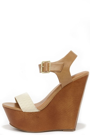 Ready for Lift Off Beige Snakeskin Platform Wedges at Lulus.com!