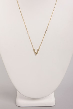 Princess and the V Gold Rhinestone Necklace