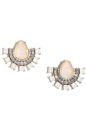 Mirror, Mirror Peach Rhinestone Earrings at Lulus.com!