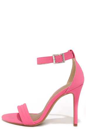 Reservation for Two Fuchsia Nubuck Single Strap Heels at Lulus.com!