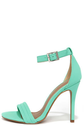 Reservation for Two Mint Nubuck Single Strap Heels at Lulus.com!