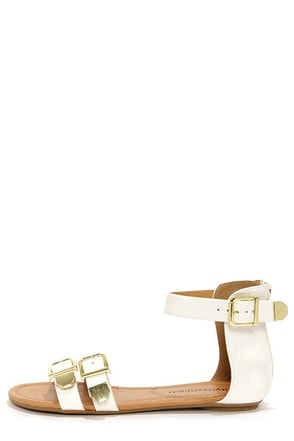 City Classified Saloma White and Gold Ankle Strap Sandals