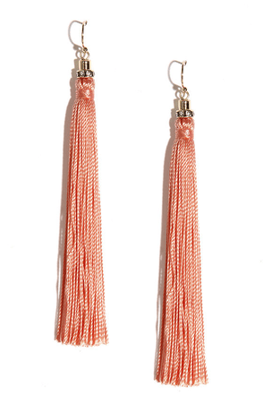Sway Awhile Peach Tassel Earrings at Lulus.com!