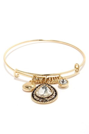 Trade Route Gold Rhinestone Bracelet at Lulus.com!