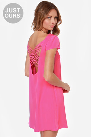 LULUS Exclusive Double Crosser Fuchsia Shift Dress