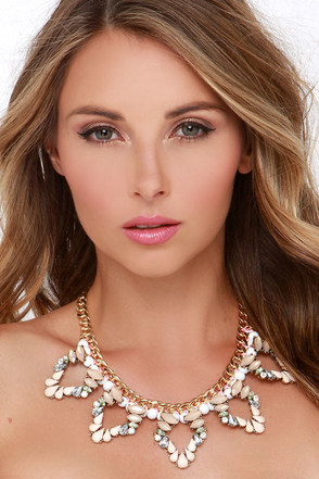 Shining Through Peach Rhinestone Statement Necklace at Lulus.com!