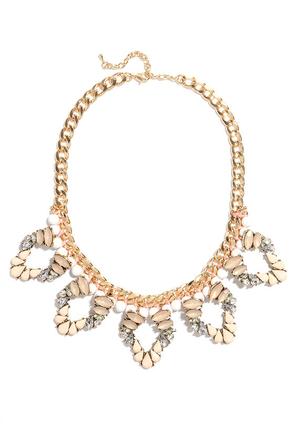 Shining Through Peach Rhinestone Statement Necklace at Lulus.com!