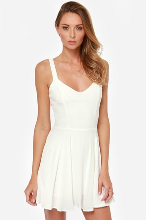 Rhythm My Tie Backless Ivory Dress