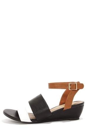 C Label Coco 5 Black and White Wedge Sandals at Lulus.com!