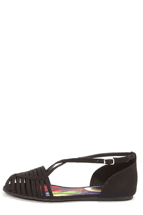 Madden Girl Smerk Black Strappy Flat Sandals