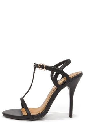 Bruno Valenti Brittney 1 Black Curlicue T-Strap Heels