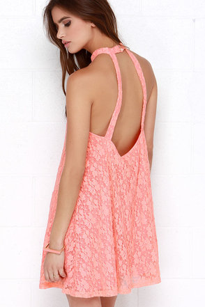 Mink Pink Dancing In the Dark Peach Lace Halter Dress at Lulus.com!