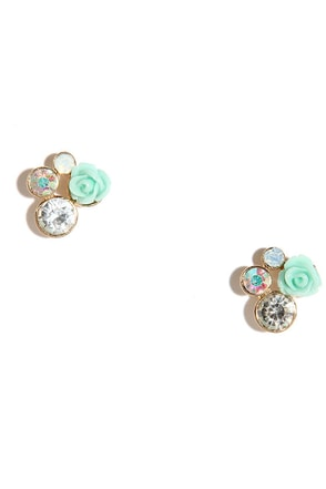 Rose Younger Mint Rhinestone Earrings at Lulus.com!