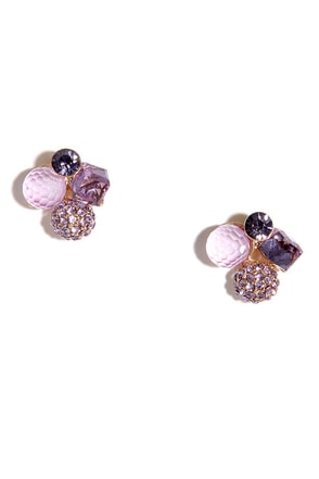 Curios Purple Rhinestone Earrings at Lulus.com!